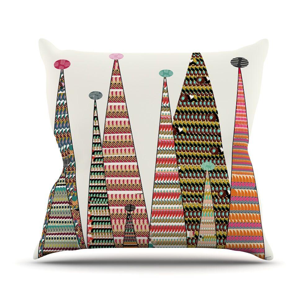Feather Peaks by Bri Buckley Rainbow Throw Pillow Size: 26'' H x 26'' W x 1