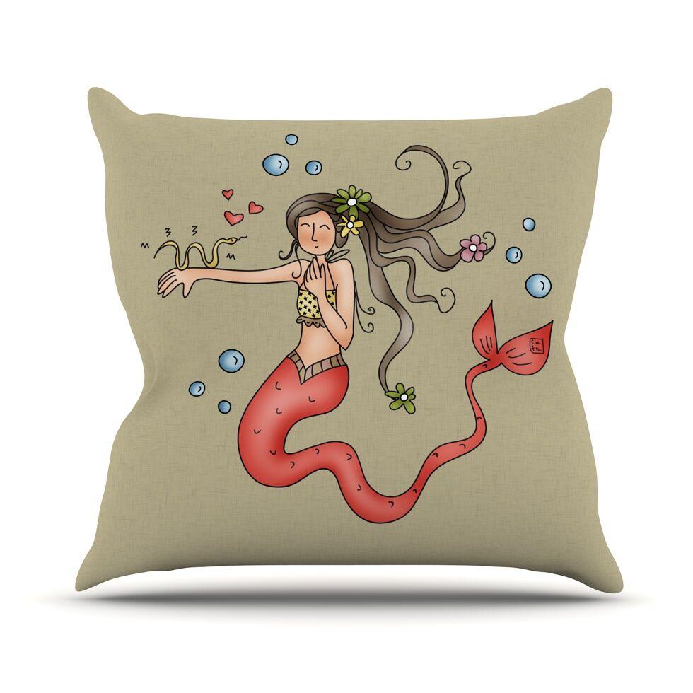 Mermaids Lovely by Carina Povarchik Throw Pillow Size: 18'' H x 18'' W x 1