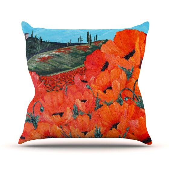 Poppies Outdoor Throw Pillow Size: 18