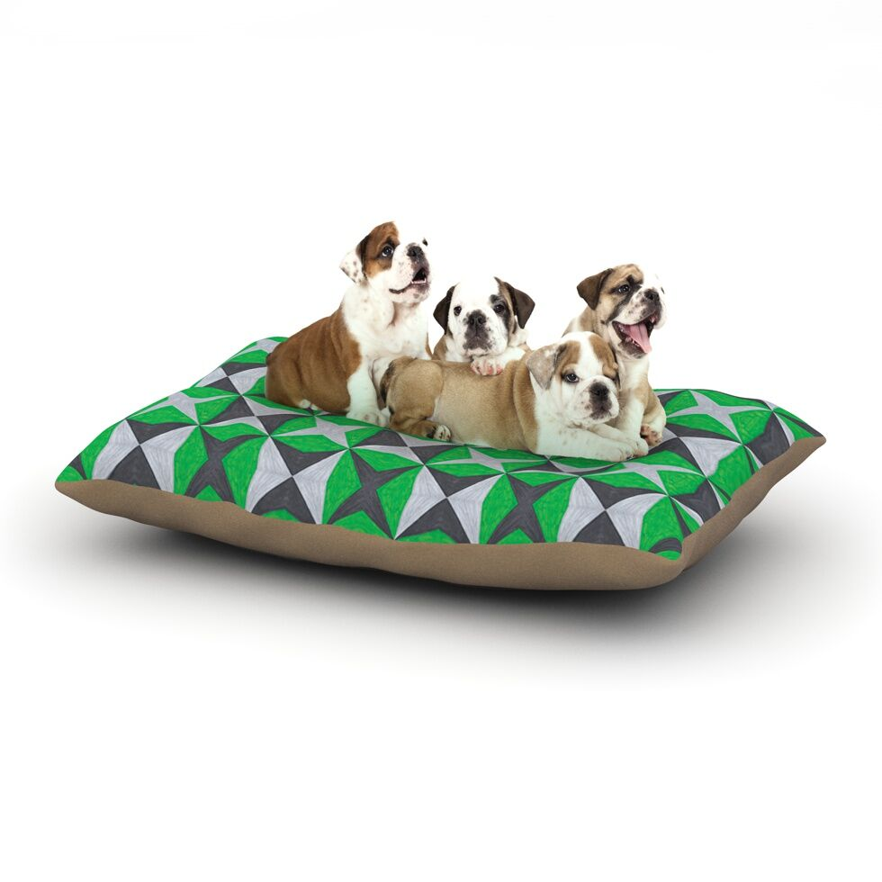 Empire Ruhl 'Silver and Green Abstract' Dog Pillow with Fleece Cozy Top Size: Small (40