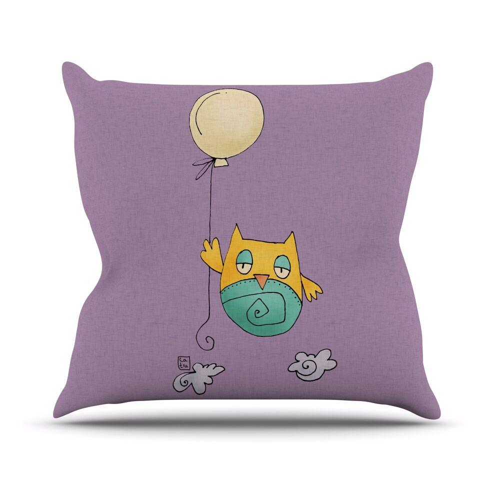 Lechuzita en Ballon by Carina Povarchik Owl Throw Pillow Size: 26'' H x 26'' W x 1