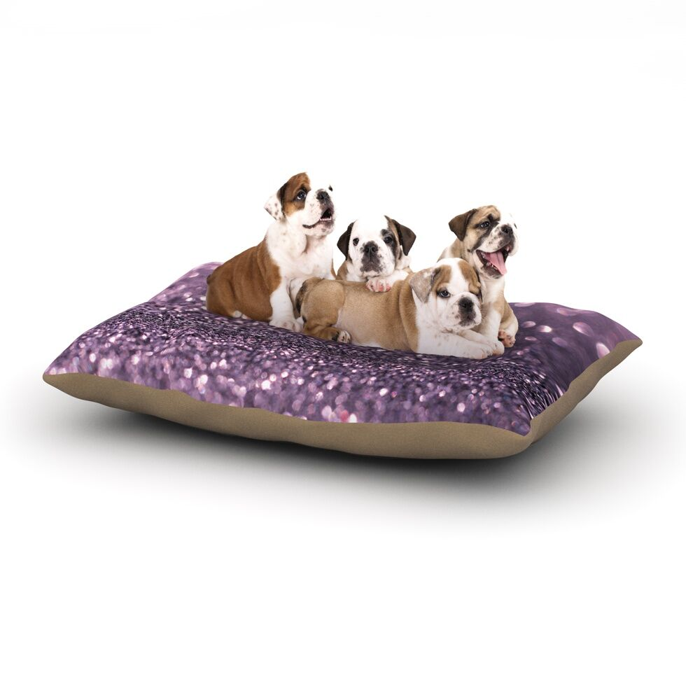 Debbra Obertanec 'Lavender Sparkle' Glitter Dog Pillow with Fleece Cozy Top Size: Small (40