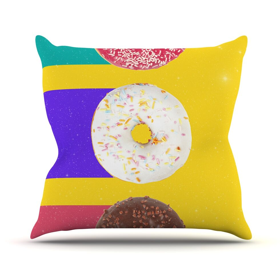 Donuts by Danny Ivan Throw Pillow Size: 18'' H x 18'' W x 1