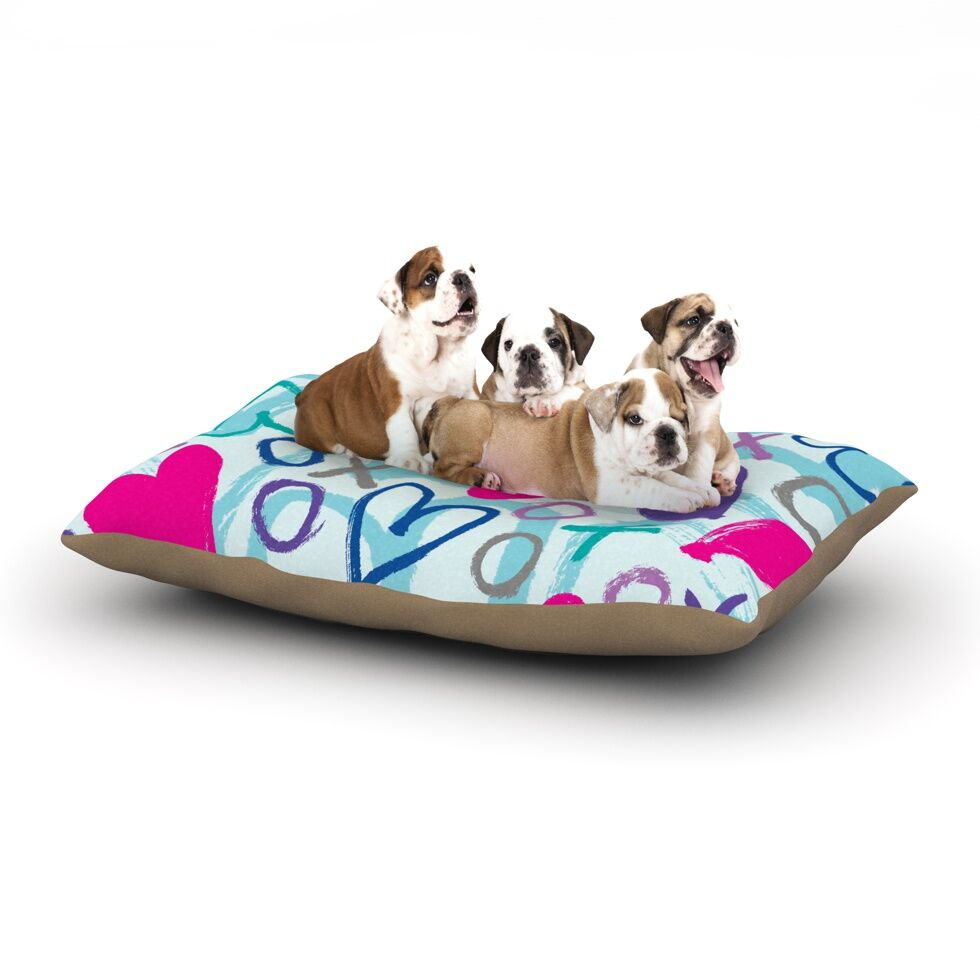 Emine Ortega 'Hearts a Flutter' Dog Pillow with Fleece Cozy Top Size: Small (40