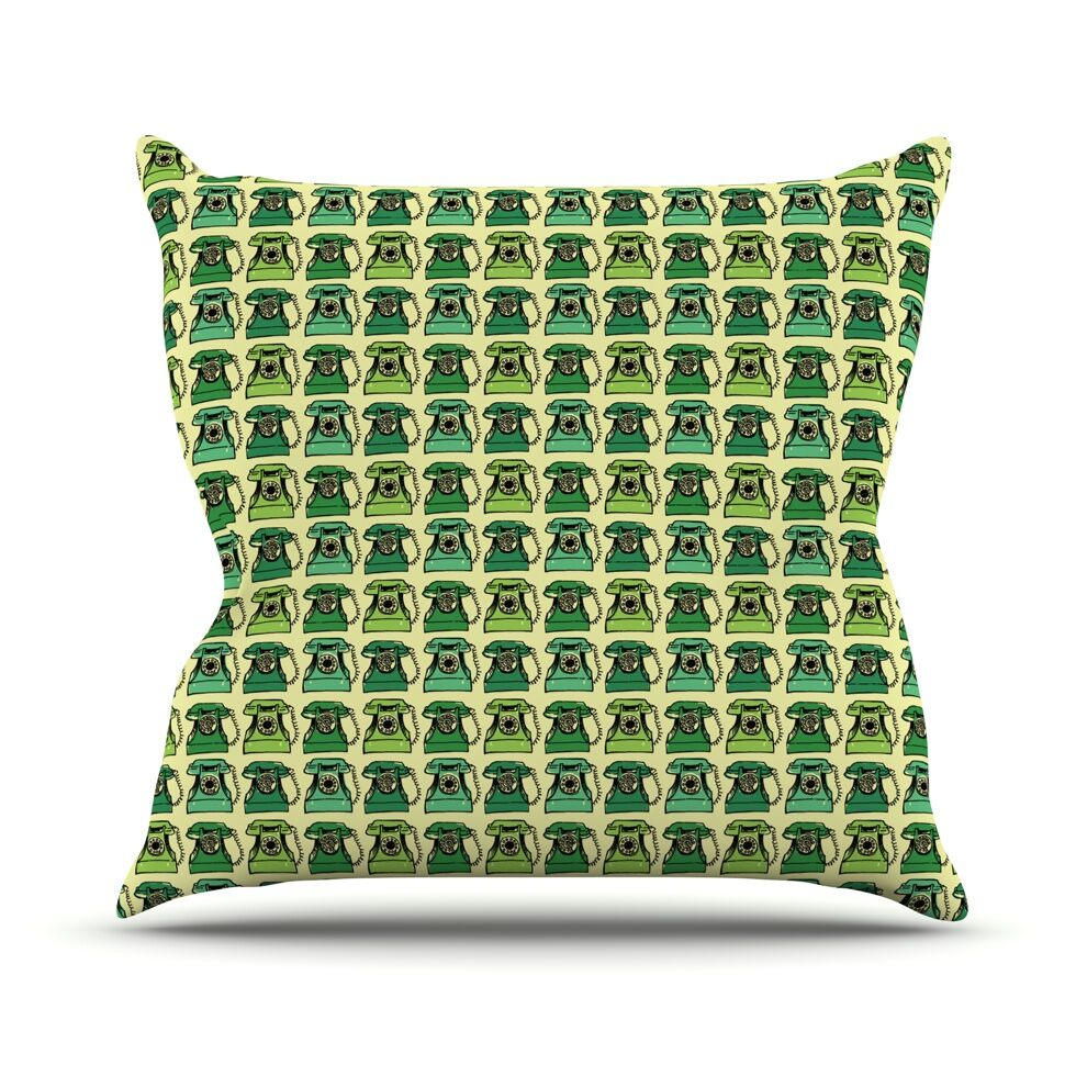 Vintage Telephone by Holly Helgeson Throw Pillow Size: 26