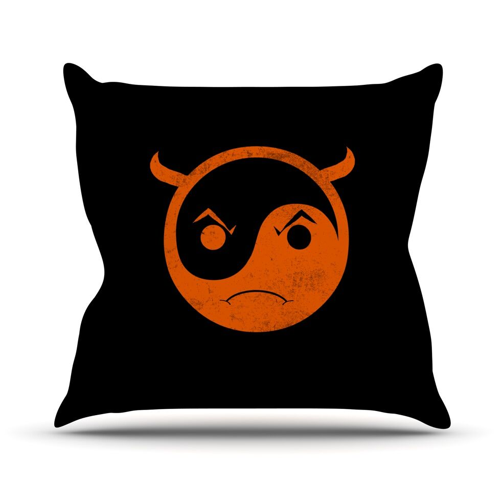 Yin Yang Diablo by Frederic Levy-Hadida Throw Pillow Size: 26'' H x 26'' W x 1