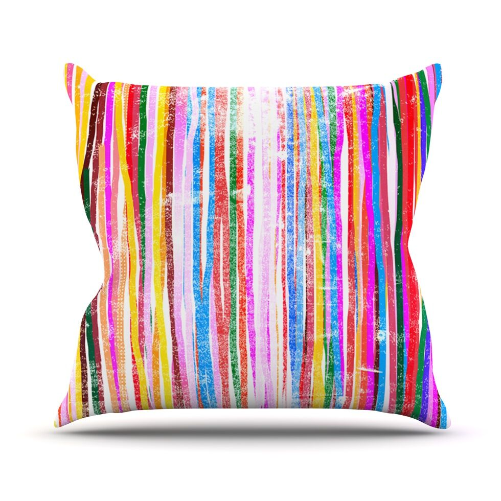 Fancy Stripes by Frederic Levy-Hadida Throw Pillow Size: 26'' H x 26'' W x 1