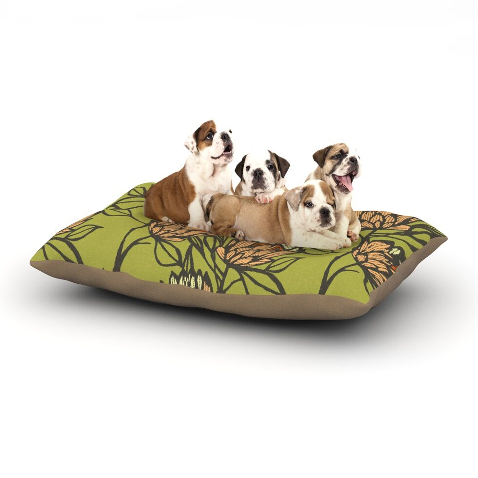 Gill Eggleston 'Protea Olive' Dog Pillow with Fleece Cozy Top Size: Small (40