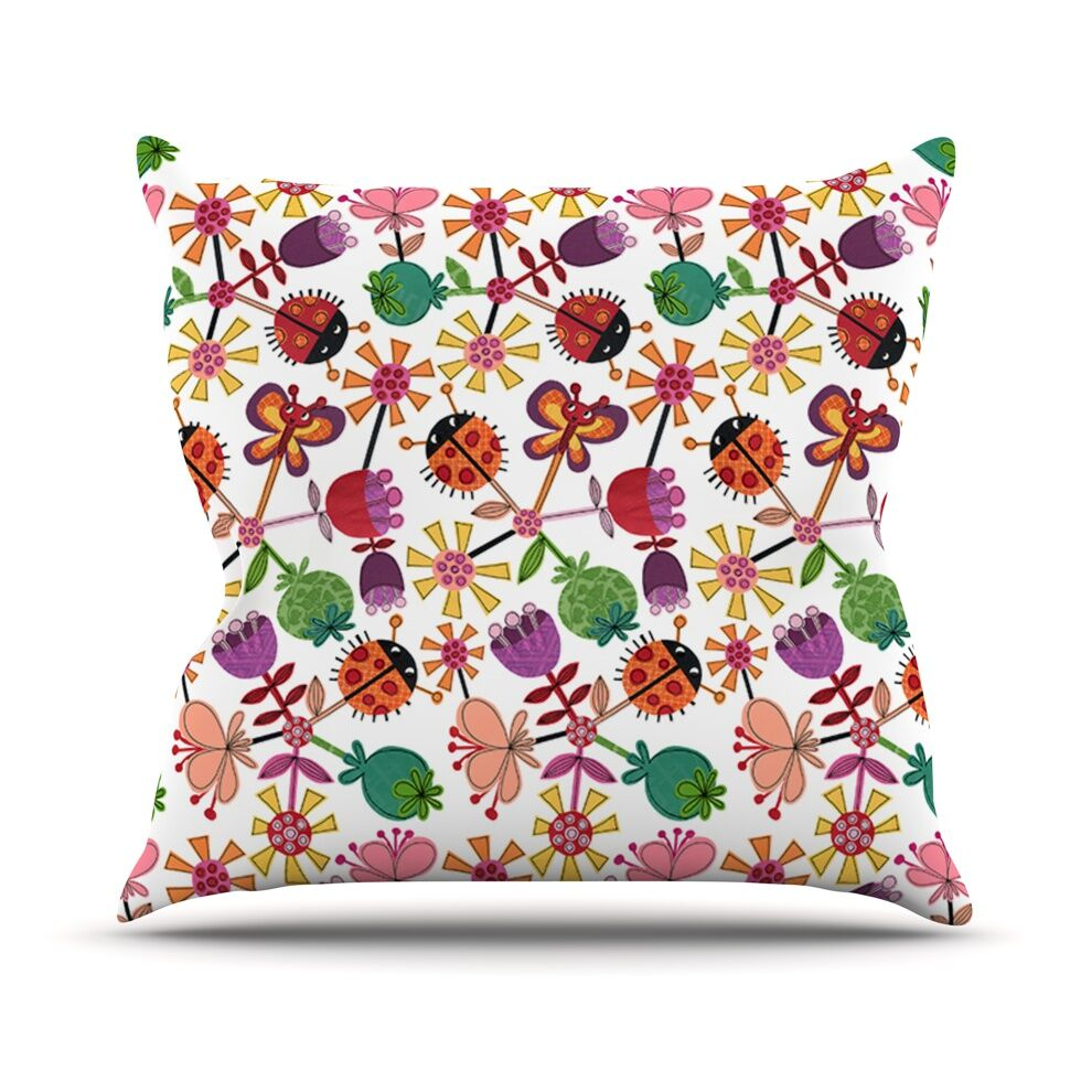 Garden Floral by Jane Smith Plants Bugs Throw Pillow Size: 26
