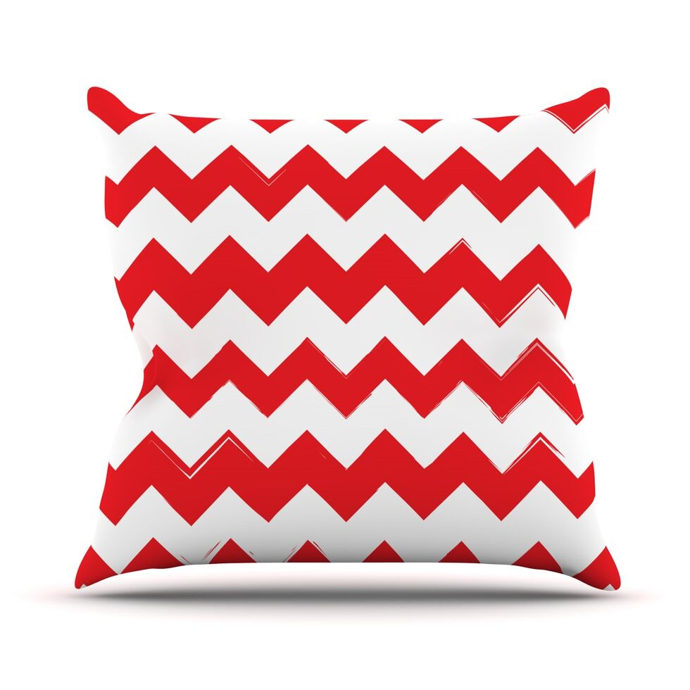 Candy Cane Chevron Throw Pillow Size: 26