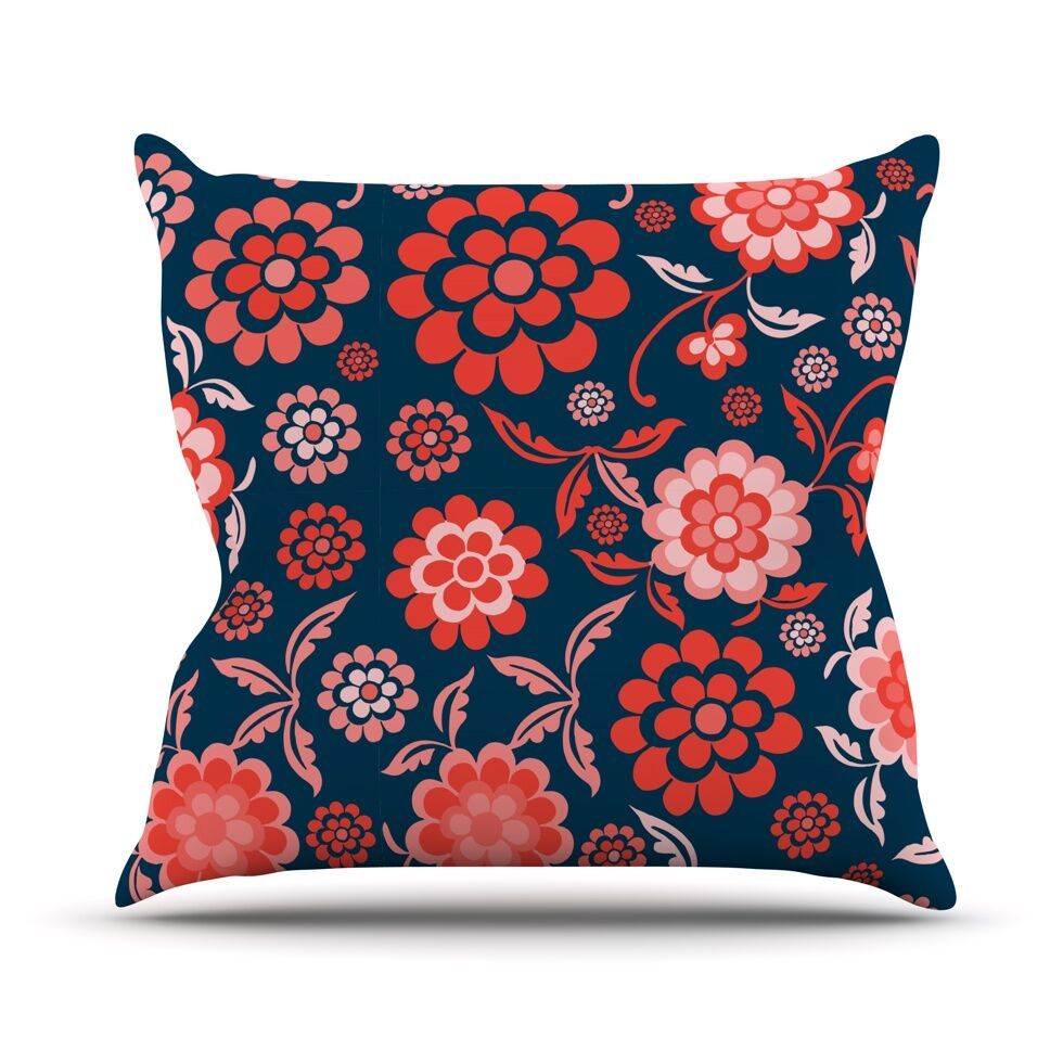 Cherry Floral Throw Pillow Color: Midnight, Size: 18