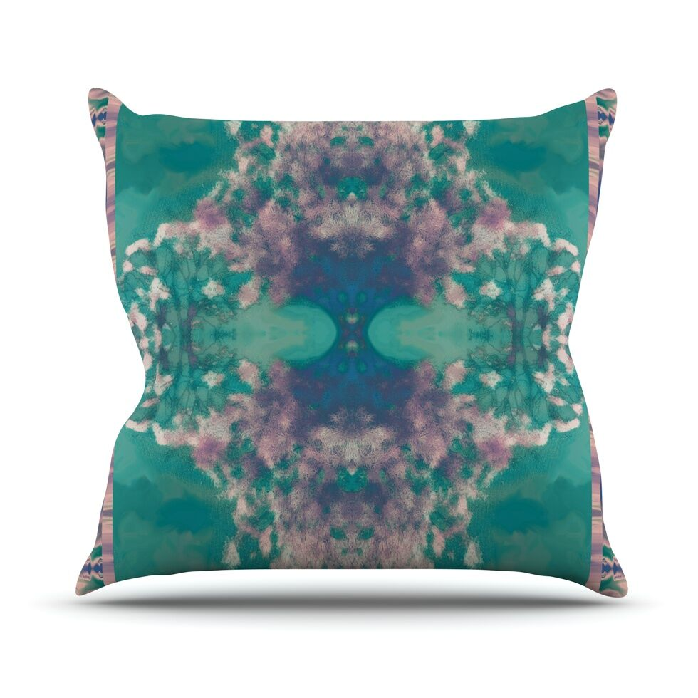 Ashby Blossom Teal Throw Pillow Size: 26