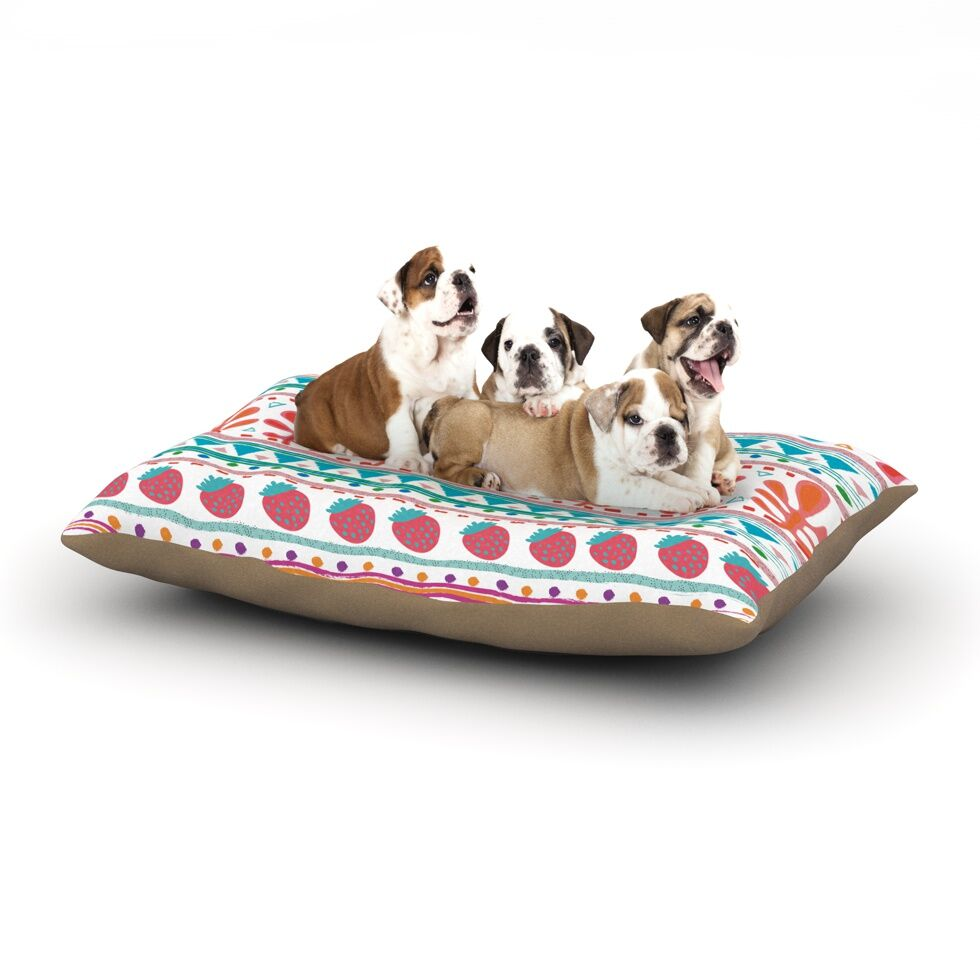 Nika Martinez 'Spring Strawberries' Dog Pillow with Fleece Cozy Top Size: Small (40