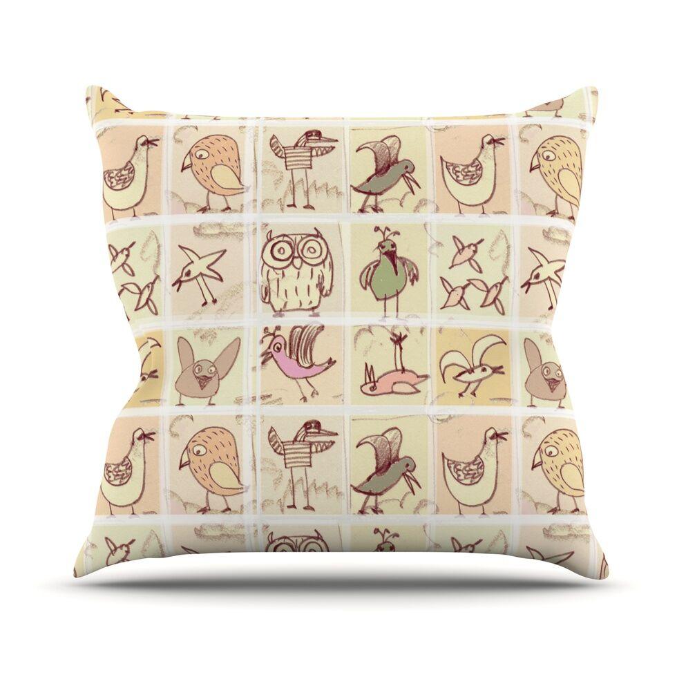 Birdies Throw Pillow Size: 26