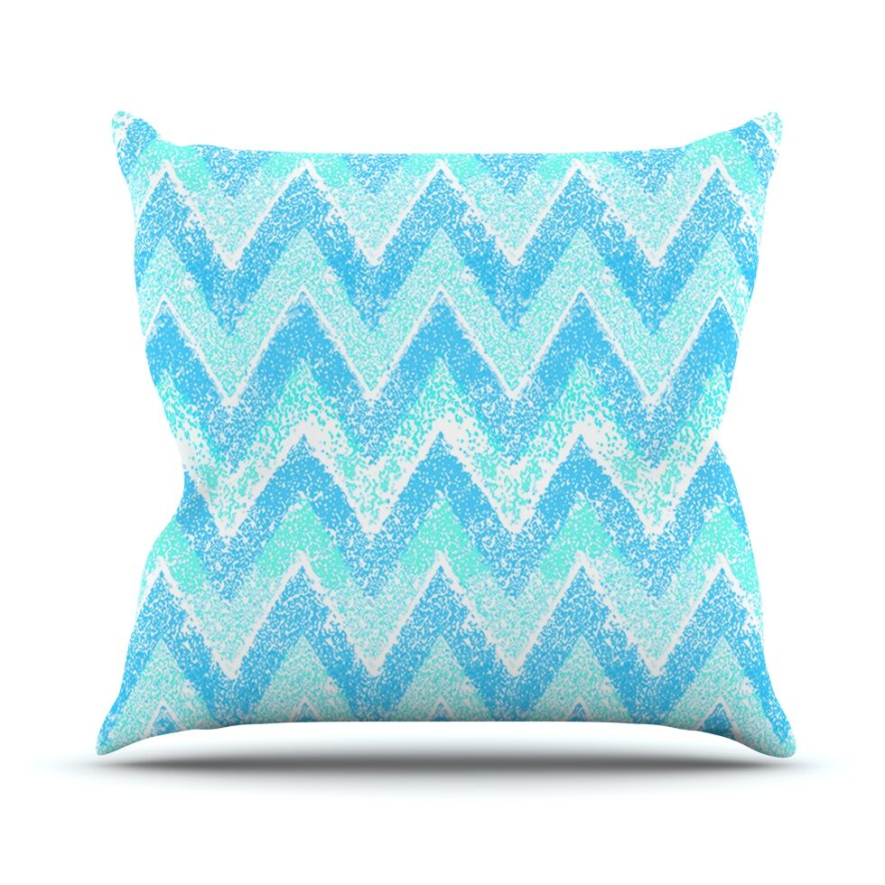 Mint Snow Chevron by Marianna Tankelevich Chevron Throw Pillow Size: 16