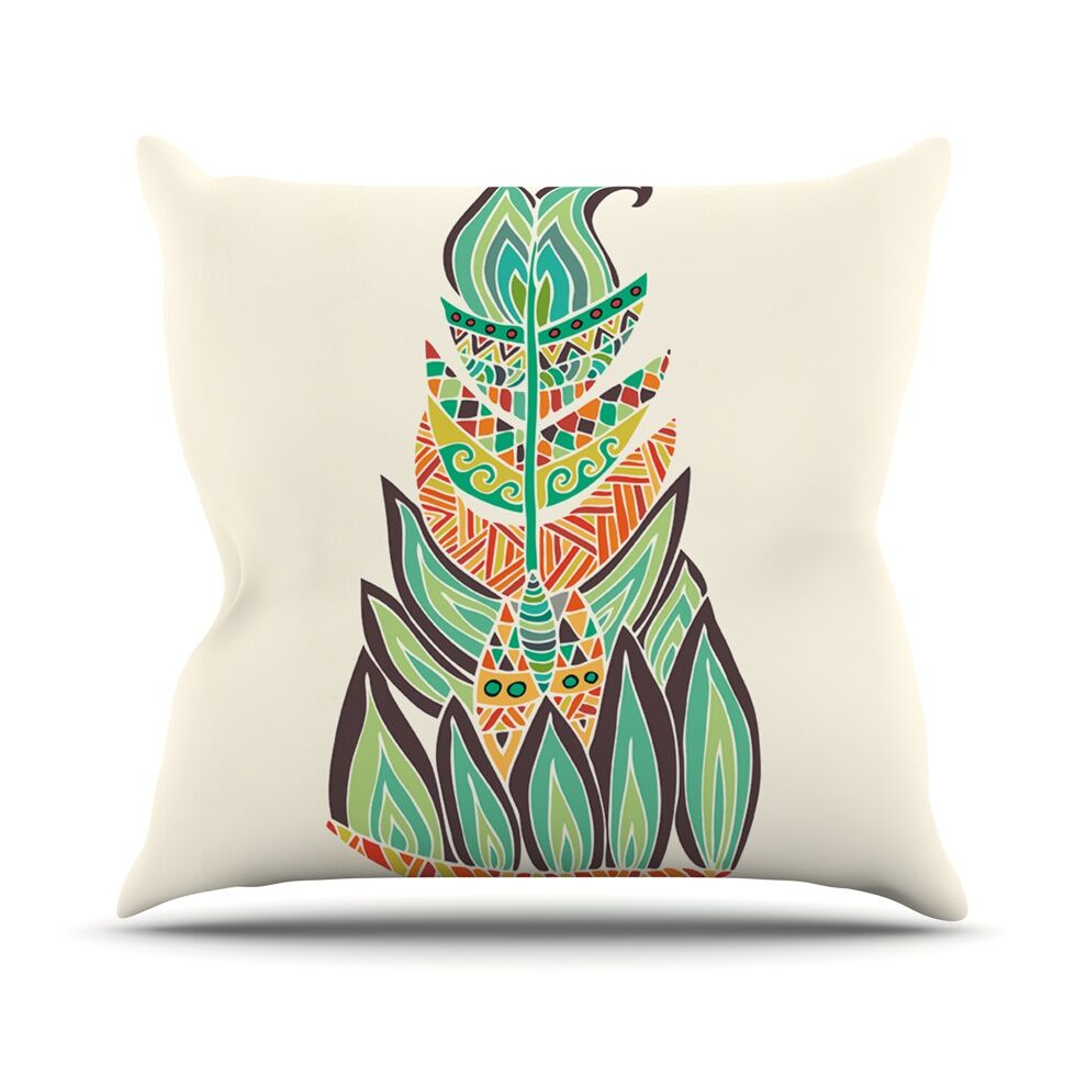 Tribal Feather by Pom Graphic Throw Pillow Size: 26