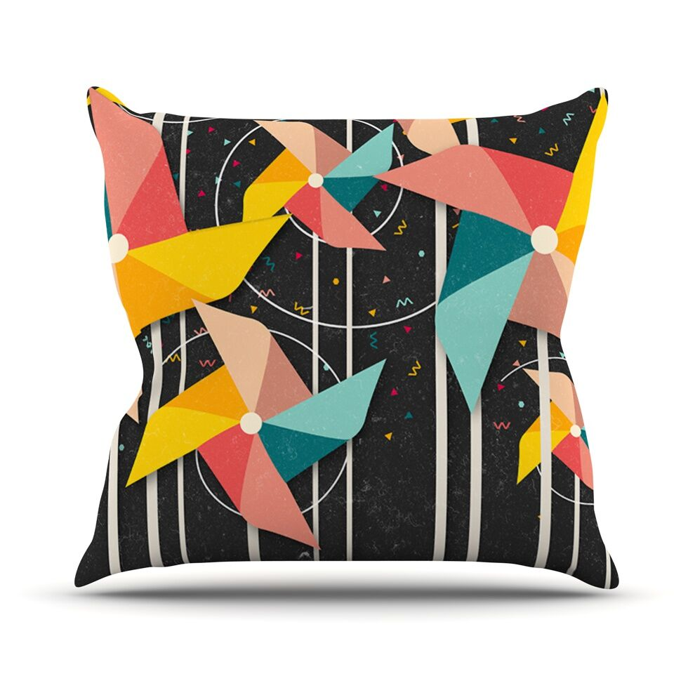 Colorful Pinwheels Abstract Outdoor Throw Pillow Size: 26