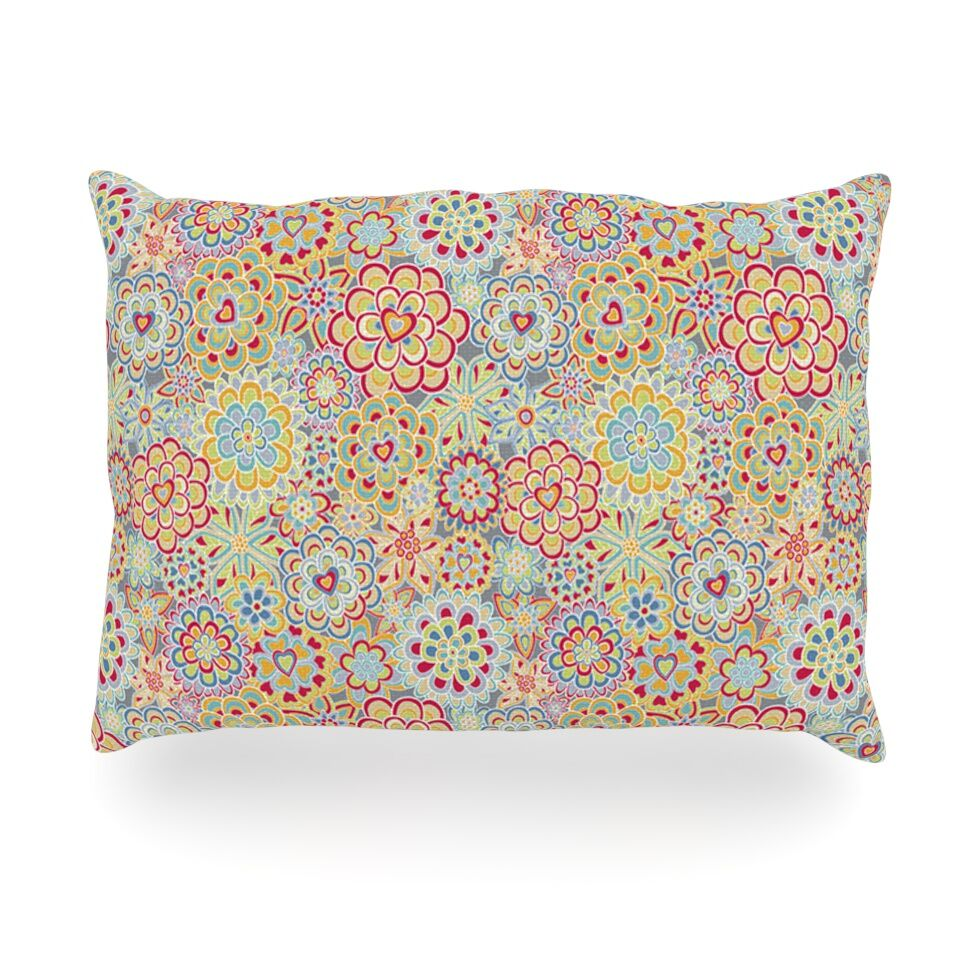 My Happy Flowers in Red Outdoor Throw Pillow Size: 14