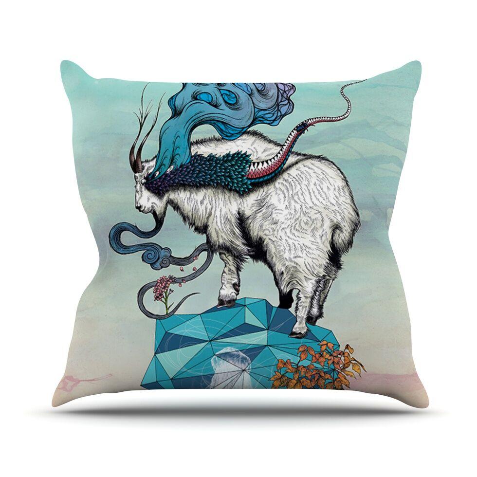 Seeking New Heights by Mat Miller Goat Throw Pillow Size: 18