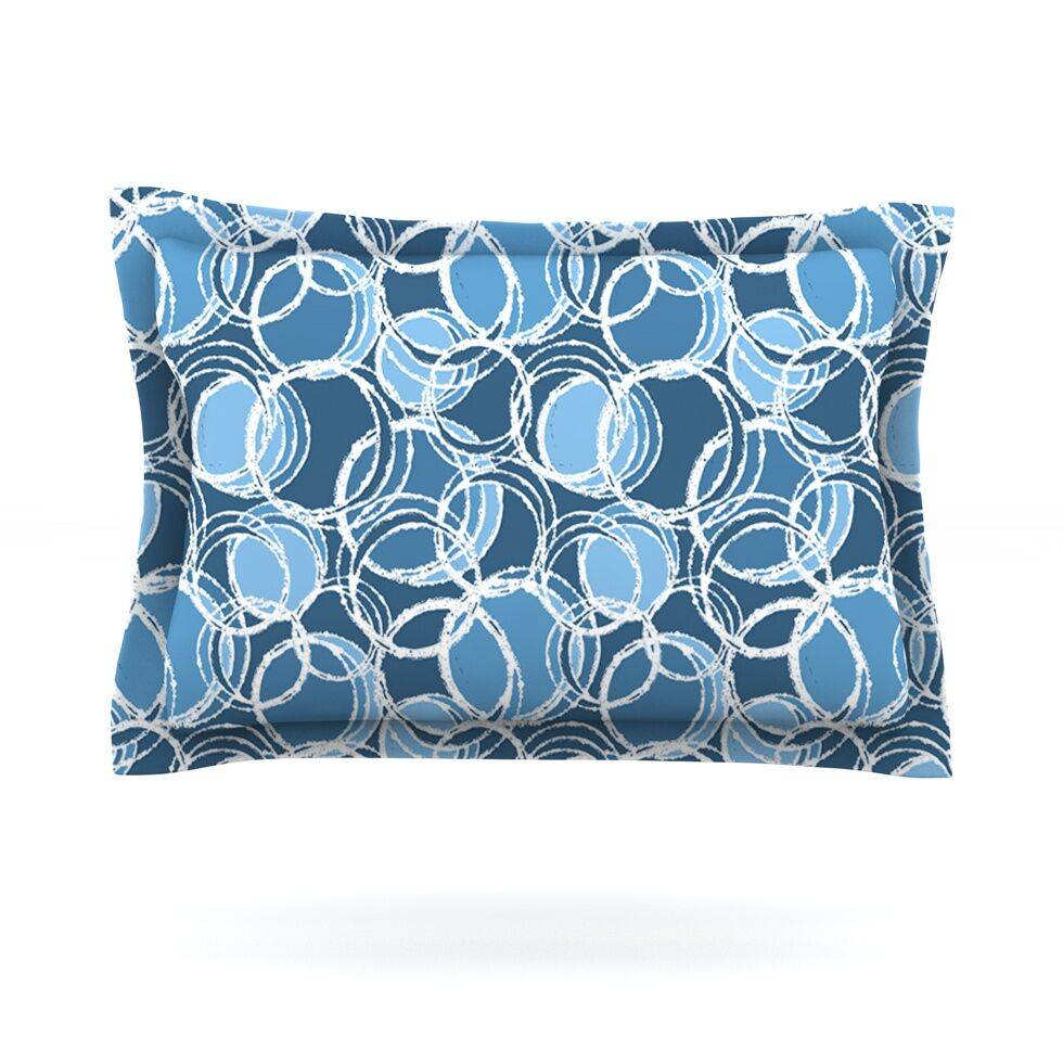 Simple Circles by Julia Grifol Pillow Sham Size: King, Color: Blue, Fabric: Cotton