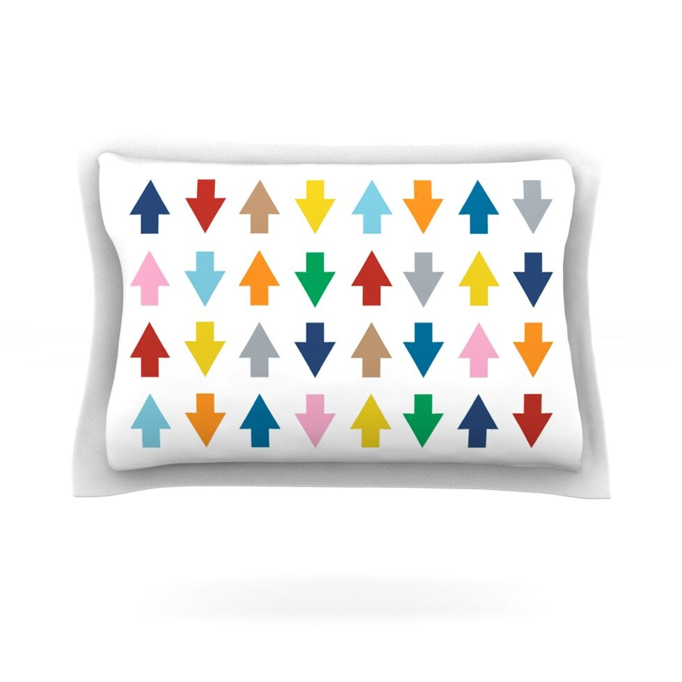 Arrows Up and Down by Project M Featherweight Pillow Sham Size: King, Color: White, Fabric: Cotton