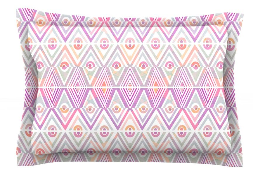 Soft Petal Tribal by Pom Graphic Design Featherweight Pillow Sham Size: King, Fabric: Cotton