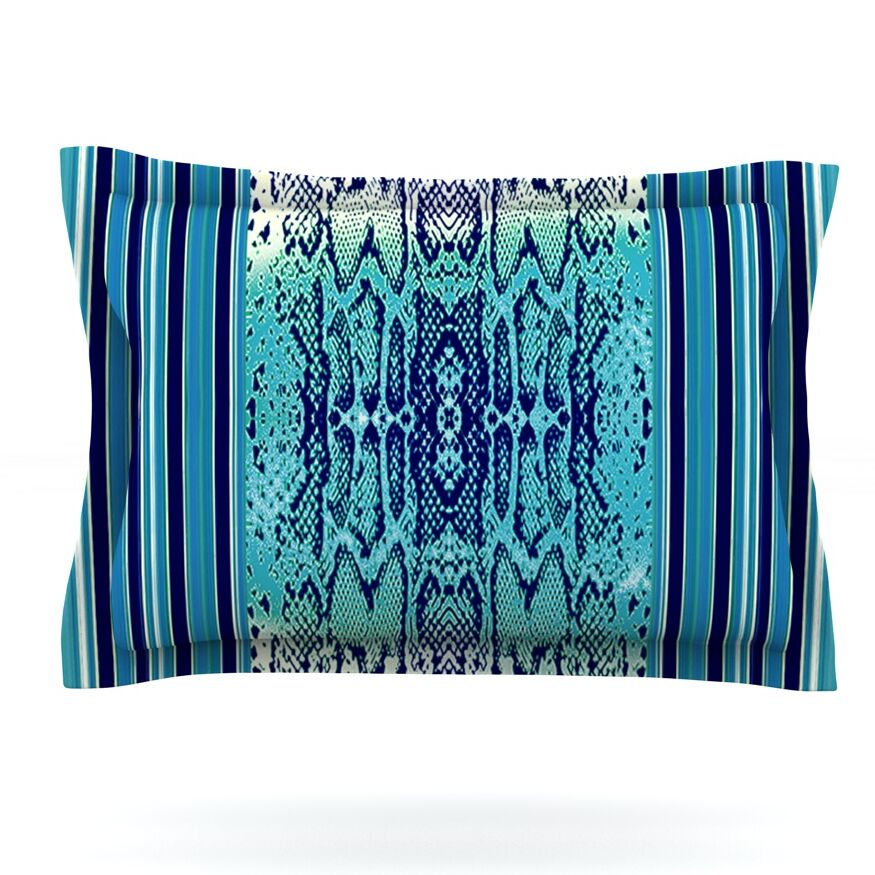 Aqua Snake by Nina May Featherweight Pillow Sham Size: King, Fabric: Cotton