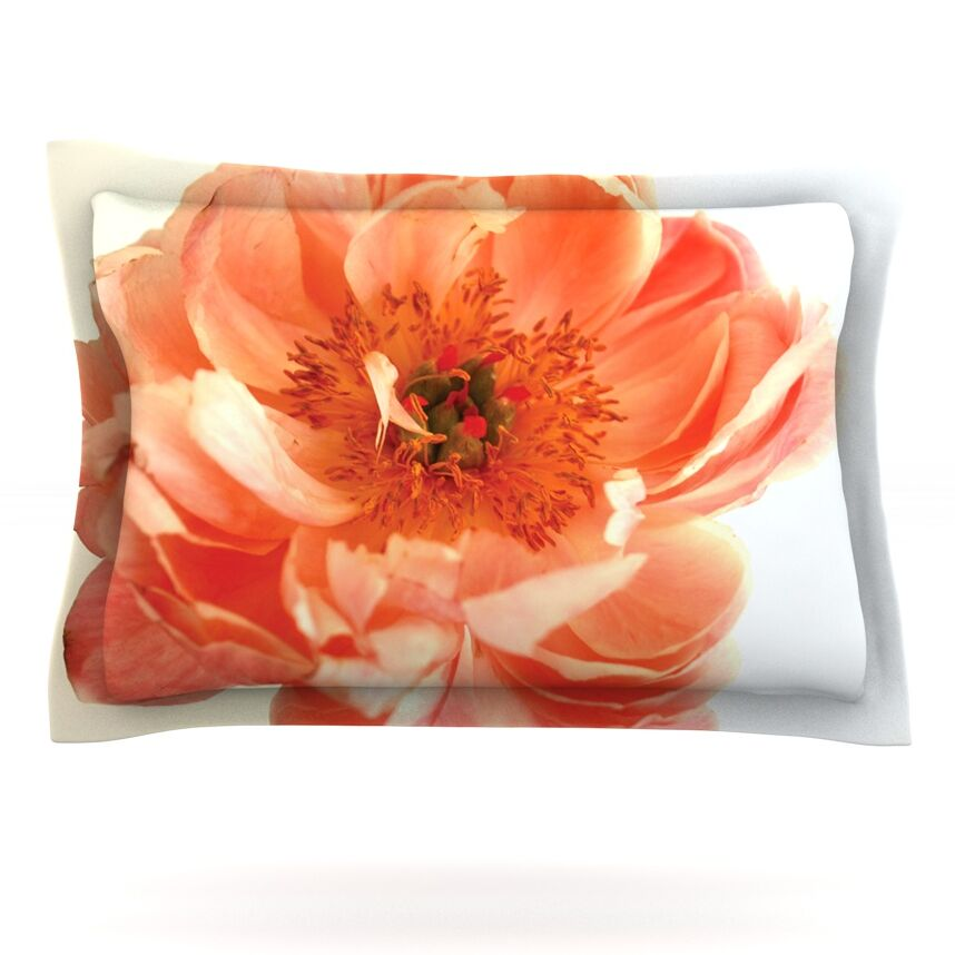 Blushing Peony by Pellerina Design Featherweight Pillow Sham Size: Queen, Fabric: Cotton