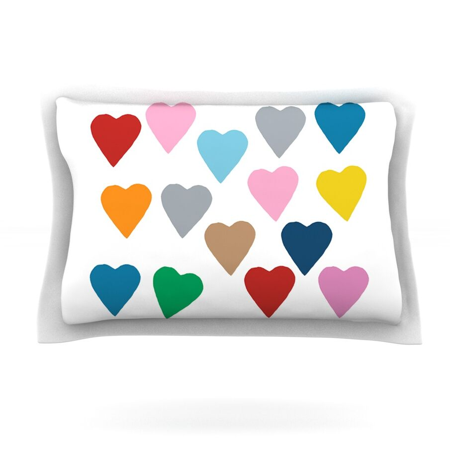 Colorful Hearts by Project M Featherweight Pillow Sham Size: Queen, Fabric: Cotton