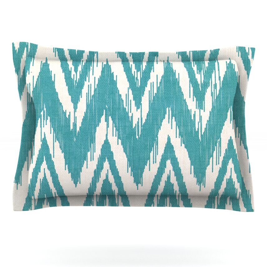 Tribal Chevron by Heidi Jennings Featherweight Pillow Sham Size: King, Color: Aqua, Fabric: Cotton