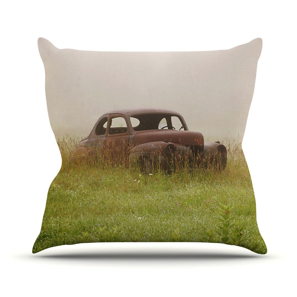 Forgotten Car by Angie Turner Grass Throw Pillow Size: 26'' H x 26'' W x 1