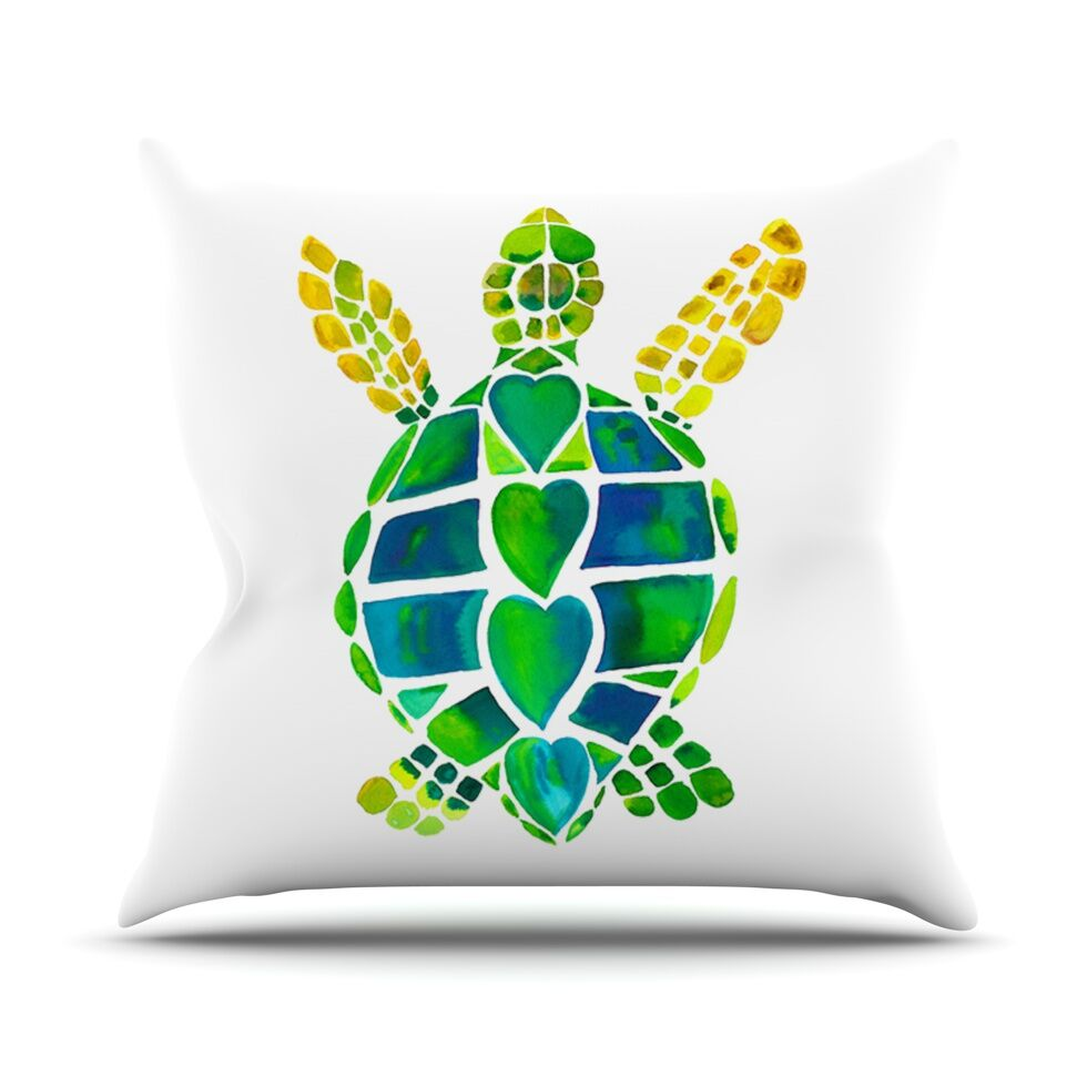 Turtle Love by Catherine Holcombe Throw Pillow Size: 26'' H x 26'' W x 1