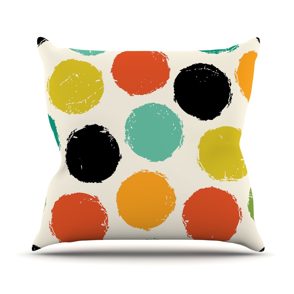 Retro Dots by Daisy Beatrice Circles Throw Pillow Size: 26'' H x 26'' W x 1