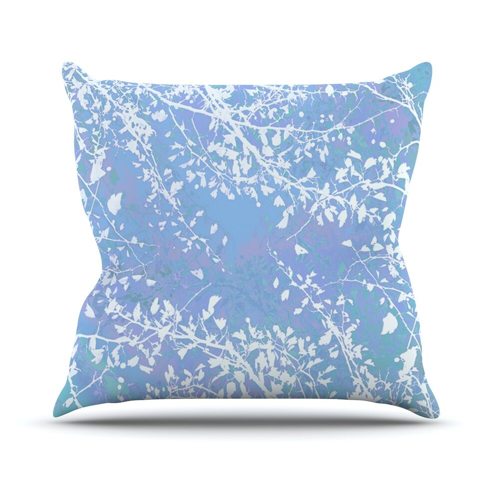 Twigs Silhouette by Iris Lehnhardt Throw Pillow Color: Pastel Blue, Size: 26