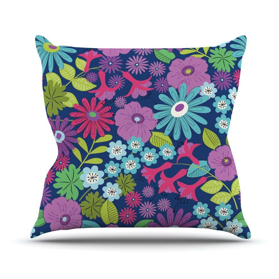 Lula by Jacqueline Milton Throw Pillow Color: Purple/Blue, Size: 20