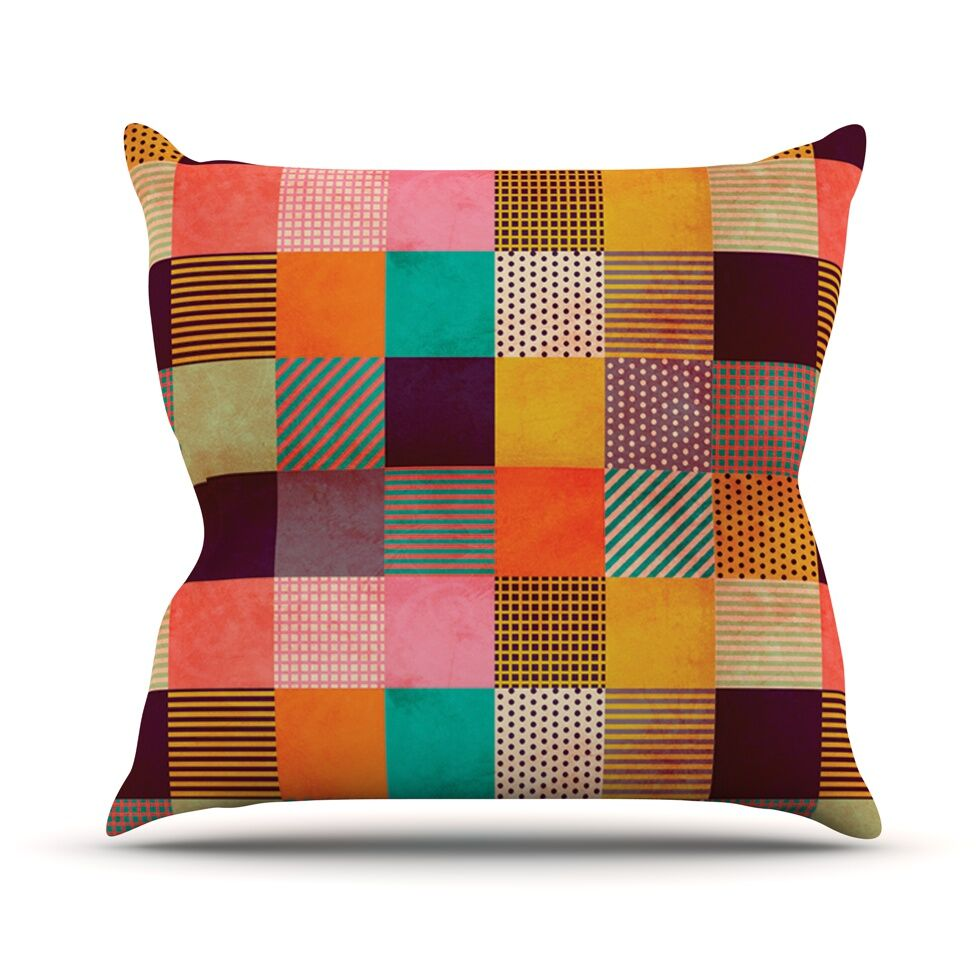 Decorative Pixel by Louise Machado Warm Patches Throw Pillow Size: 16