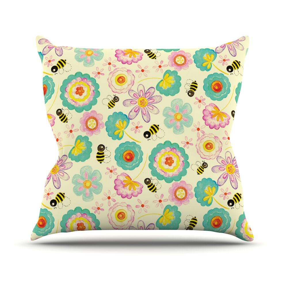 Floral Bee by Louise Machado Throw Pillow Size: 26