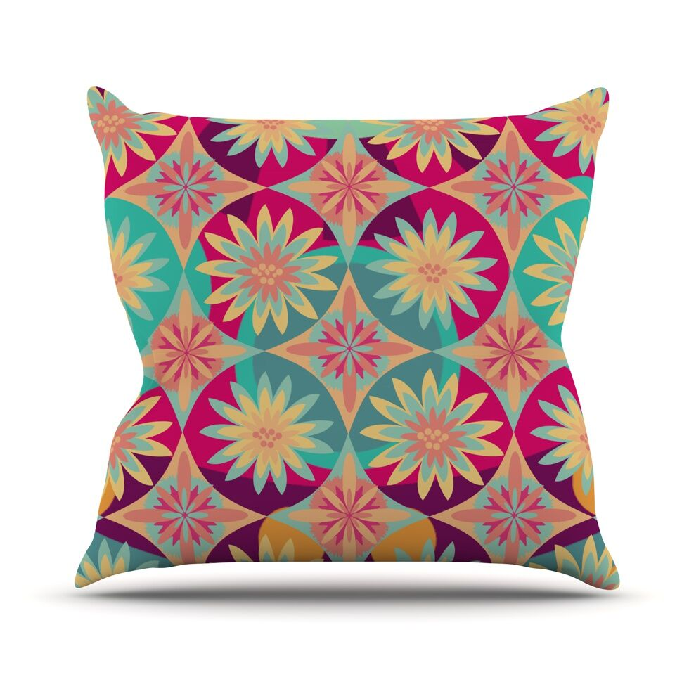 Happy Flowers by Nika Martinez Floral Abstract Throw Pillow Size: 20