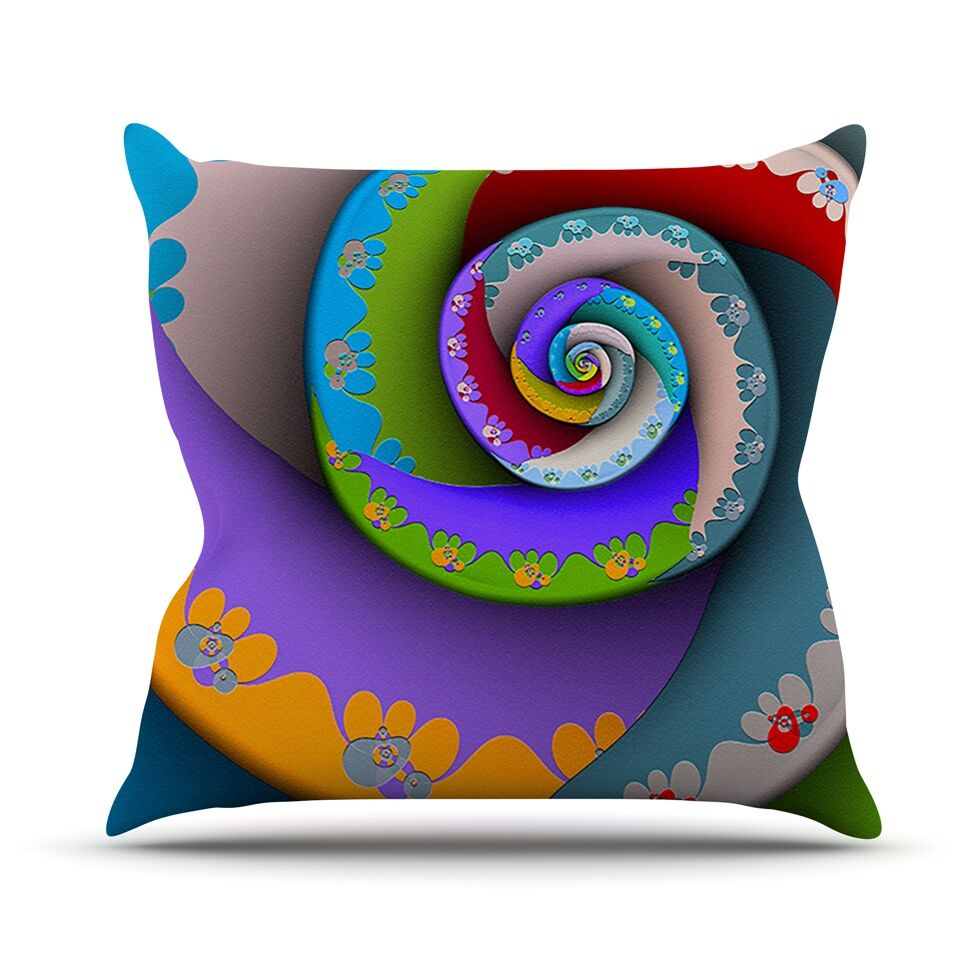 Flor Essence by Michael Sussna Rainbow Spiral Throw Pillow Size: 26