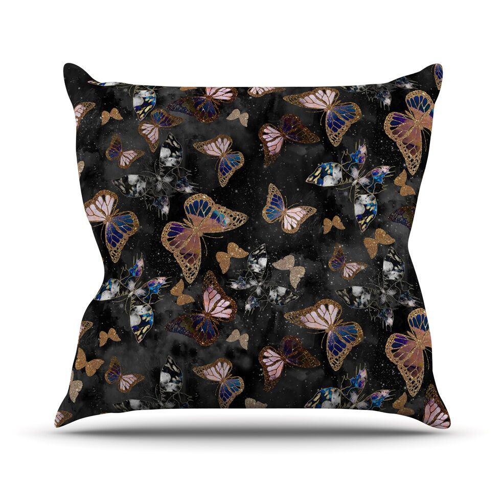 Galactic Butterfly by Nikki Strange Throw Pillow Size: 26