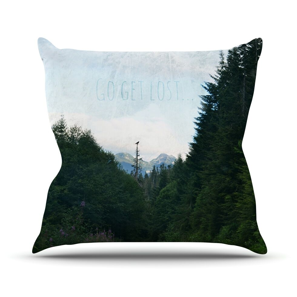 Go Get Lost by Robin Dickinson Forest Throw Pillow Size: 26