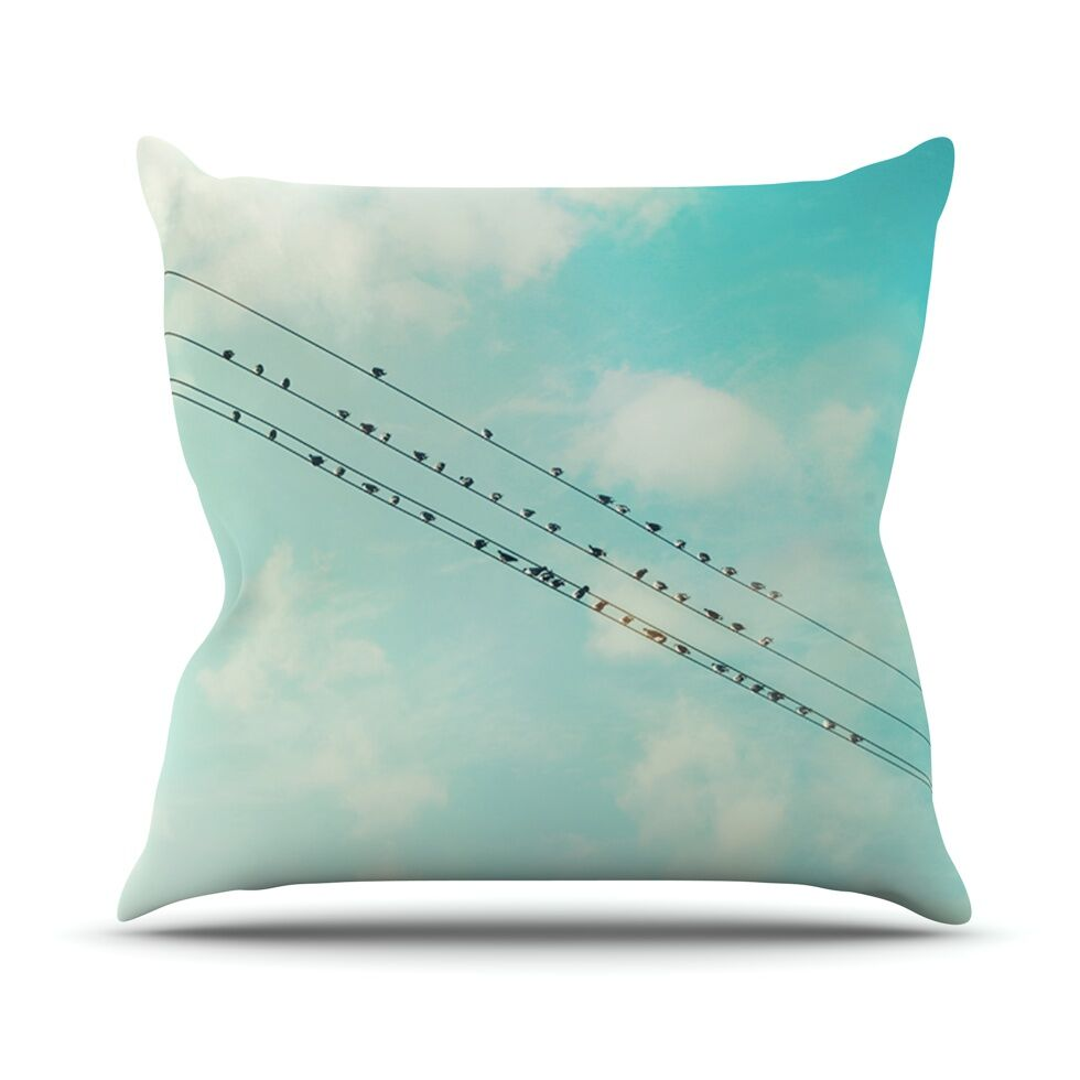Birds on Wires by Sylvia Cook Sky Throw Pillow Size: 26