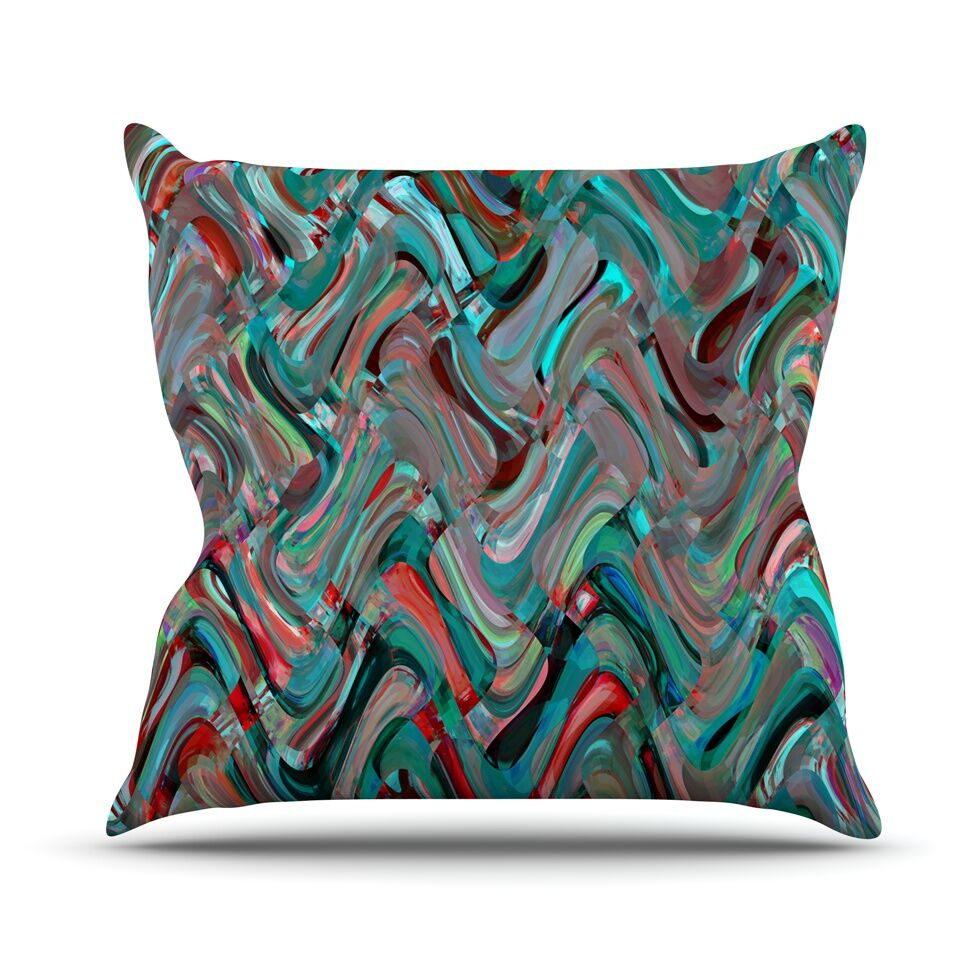 Abstract Wave by Suzanne Carter Abstract Throw Pillow Size: 26