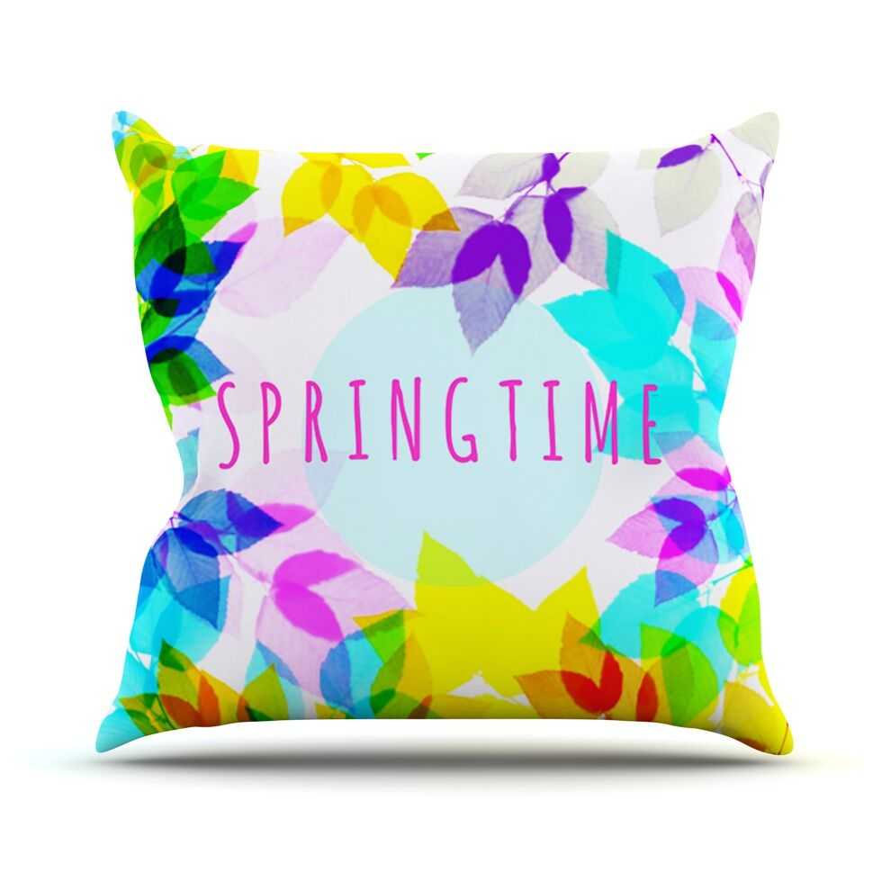 Seasons Springtime by Sreetama Ray Rainbow Leaves Throw Pillow Size: 26