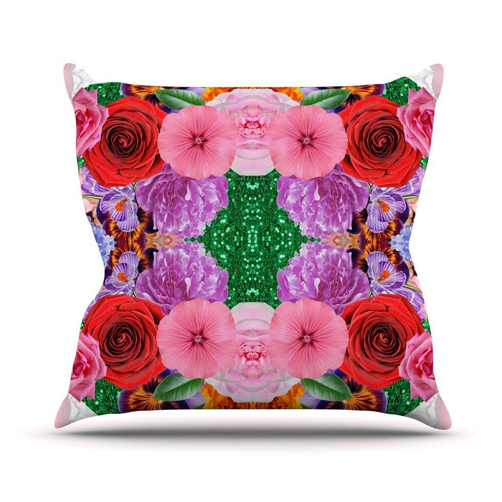 Kaleidoscopic Flowers by Vasare Nar Throw Pillow Size: 26