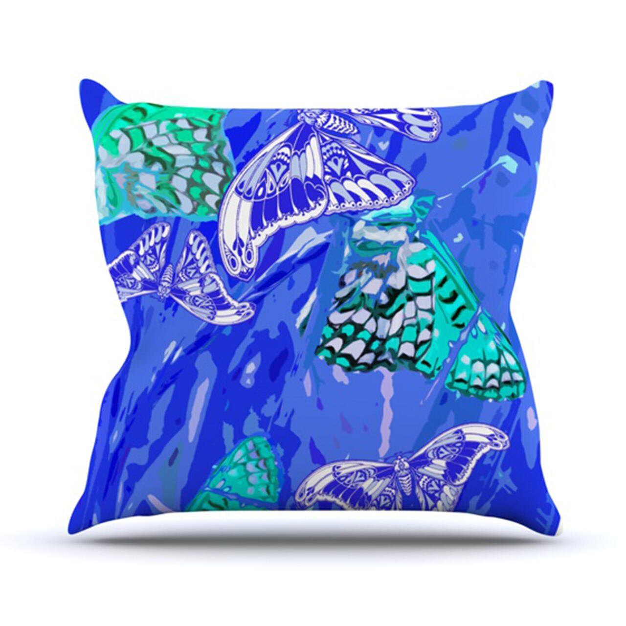 Butterflies Party Throw Pillow Color: Blue, Size: 26