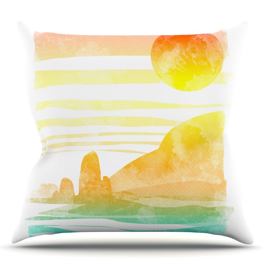 Landscape Painted With Tea by Frederic Levy-Hadida Coastal Throw Pillow Size: 20'' H x 20'' W x 1