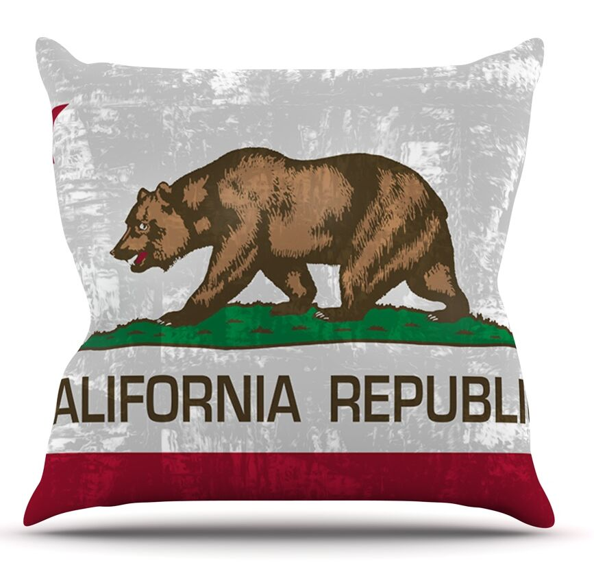 California Flag by Bruce Stanfield Throw Pillow Size: 16'' H x 16'' W x 1