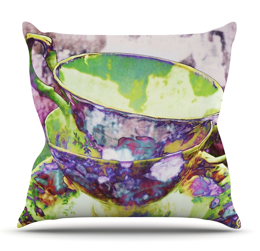 Mad Hatters T-Party II by alyZen Moonshadow Throw Pillow Size: 18'' H x 18'' W x 1