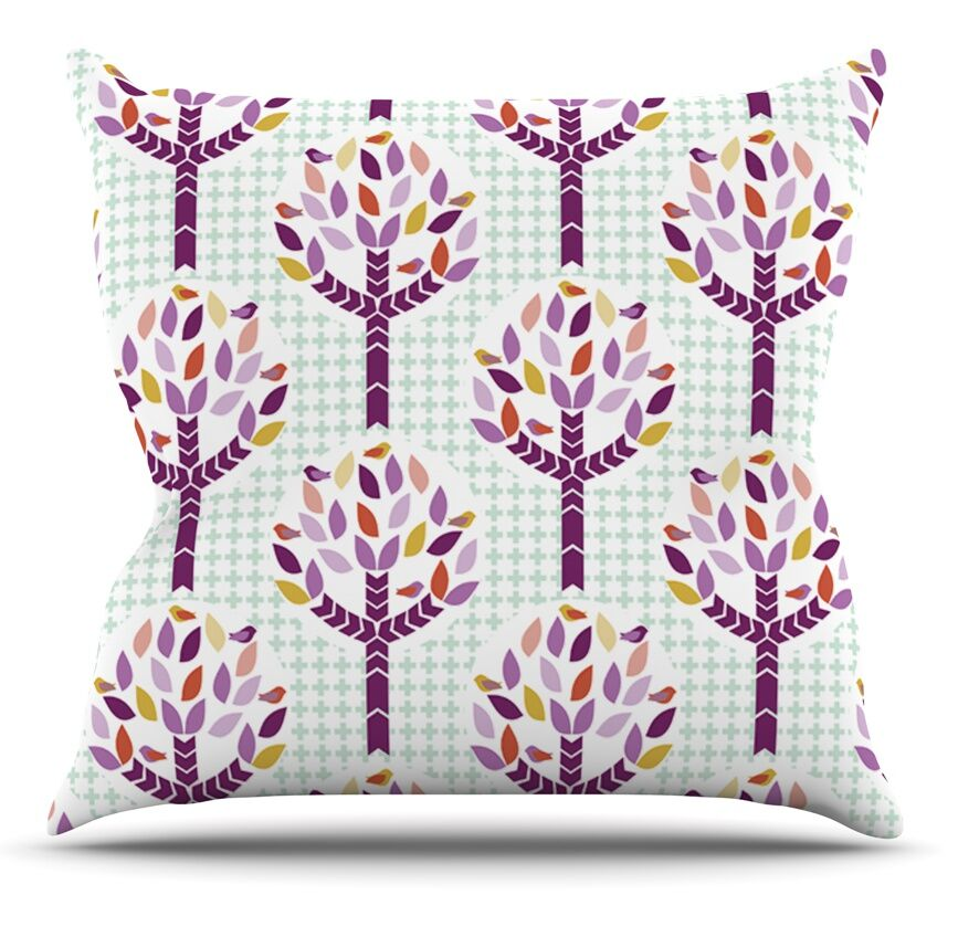 Orchid Spring Tree by Pellerina Design Abstract Throw Pillow Size: 16'' H x 16'' W x 1